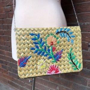 Vintage embroidered straw shoulder bag / purse